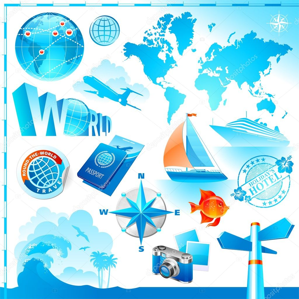 World & travel set  Stock Vector #2555024