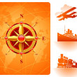 Compass rose & retro rtansport - Stock Vector