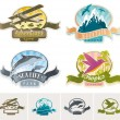 Landmarks, adventures & travel vintage label — Imagen vectorial