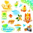Stock Vector: Tropical holidays vector set