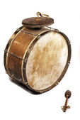 The old, worldly-wise, dusty bass drum — Stock Photo
