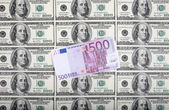 500 euro are on a dollars — Stock Photo