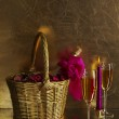 Champagne glasses, candle and a bottle — Stock Photo