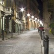 Stock Photo: Cobblestone illuminated night lamp parma