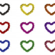 9 hearts with different colors — Stock Photo