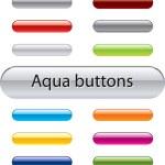 Aqua vector knappar för webbdesign — Stockvektor