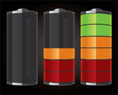 Glossy battery icons — Stock Vector