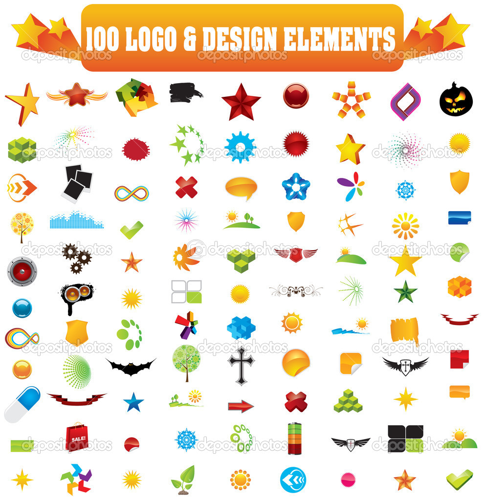 Vector logo & design elements, 100 pieces for your site — ベクター素材ストック #1807006
