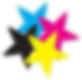 Cmyk halftone stars — Stock Vector