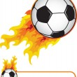 Soccer ball in flame — Vector de stock