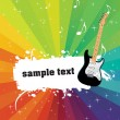 Guitar banner on rainbow background — Stock Vector