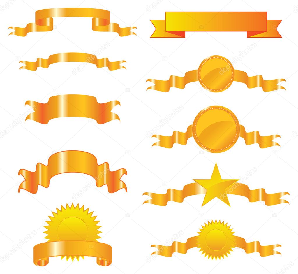 Collection of vector gold ribbons and seals  — Stock Vector #1826475