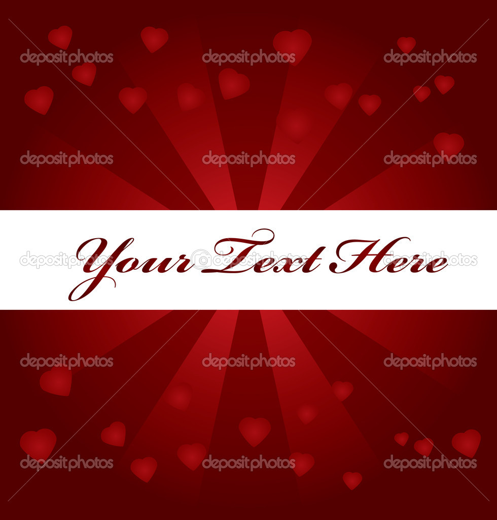 Red background with hearts and space for text  — Stock vektor #1827301