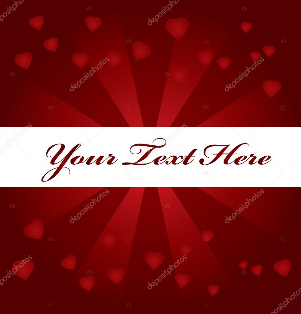 Red background with hearts and space for text  — Image vectorielle #1827301