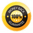 "Badge ""100% Money Back"" — Stok Vektör"
