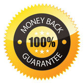 "Badge ""100% Money Back"" — Vettoriale Stock"