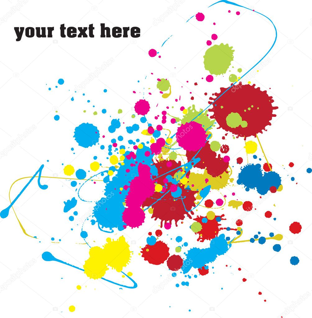 Color paint splashes background for your text. Vector.    Vettoriali Stock  #1858251