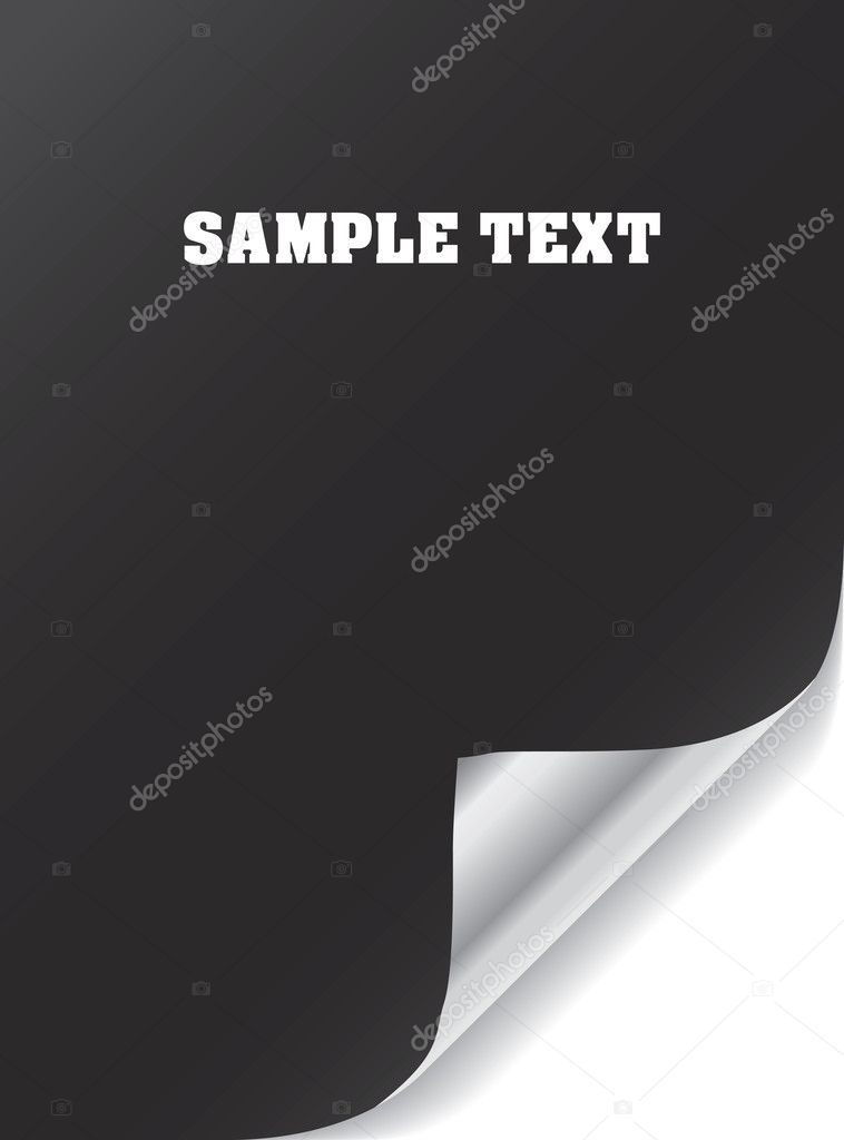 Vector black paper with realistic page curl. Copy space for image or text.   — Stock Vector #1859631
