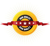 "Badge ""5 stars HIGH QUALITY"" — Vettoriale Stock"