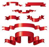 Satz von gelockt red ribbons — Stockvektor