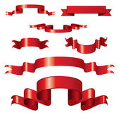 Set of curled red ribbons — Stock Vector