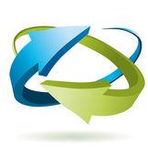 Blauw en groen 3d vector pijlen — Stockvector