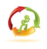 Man loopt in 3d-vector symbool — Stockvector