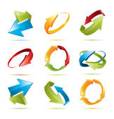 Colorful 3d vector arrows set — Vettoriale Stock