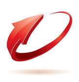 3d freccia rossa lucida — Vettoriale Stock