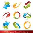 Colorful 3d vector arrows set — Vettoriale Stock #2298252
