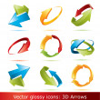 Colorful 3d vector arrows set - Imagen vectorial