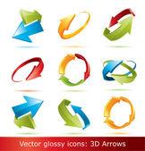 Barevné 3d vektorové sada šipek — Stock vektor