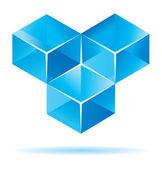 Blue cube design — Stock Vector