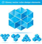 Ensemble d'éléments de conception de cube bleu — Vecteur