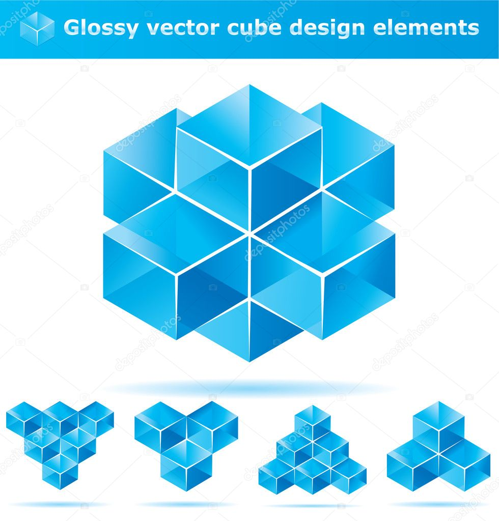 Set of blue cube design elements for business artwork — Stock Vector #2298324