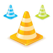 Colorful traffic cones — Stock Vector
