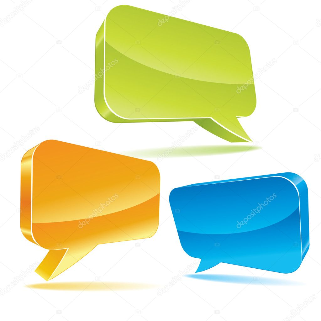Colorful 3d bubble speech. Vector illustration. — Stock Vector #2403341