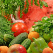 Colorful fresh group of vegetables and f — Stock Photo