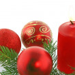 Chrismas still-life- candles and balls — Stock Photo