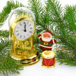 Christmas decoration with watch and Sant — Stock Photo