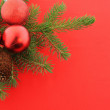 Christmas branch fur-tree with red balls — Stock Photo