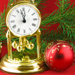 Christmas decoration with watch — Stock Photo