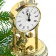 Christmas tree with gold  clock - Stock Photo
