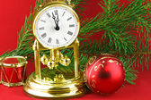 Christmas decoration with watch — Stockfoto