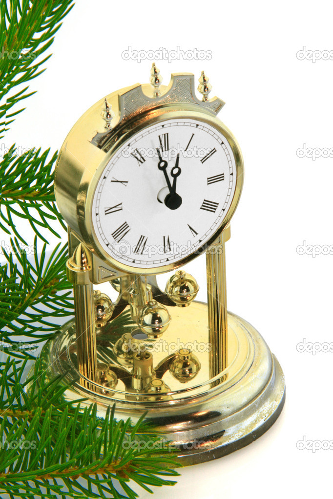 Christmas tree with gold  clock  — Stock Photo #1499640