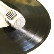 Plastic disk with microphone — Stock Photo