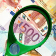 Royalty-Free Stock Photo: Magnifying and European Union Currency