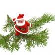 Christmas tree with toy Santa Claus — Stock Photo