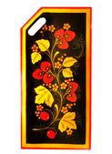 Art floral pattern on the kitchen blackb — Stock Photo
