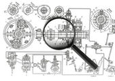 Drawing machines and Magnifier — Stock Photo